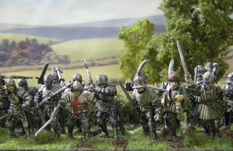 28mm 25mm L'Art de la Guerre Perry Plastic dismounted knights being painted