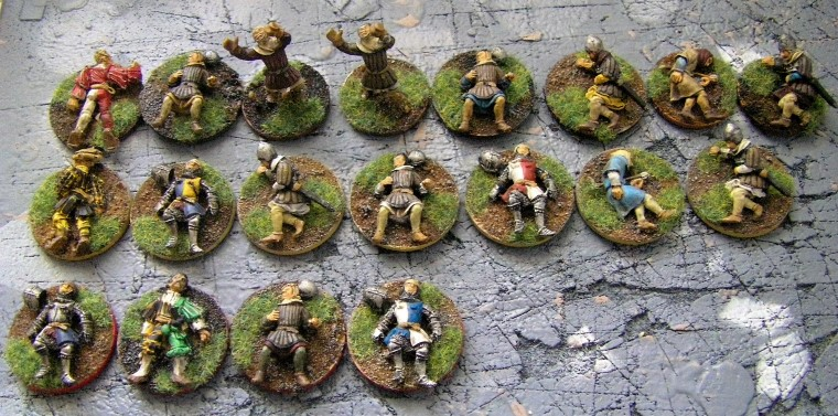 28mm 25mm L'Art de la Guerre Perry & Foundry Medieval Casulaties painted